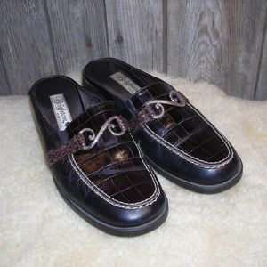 BRIGHTON Sydney Brown Black Slip On Mule size 9
